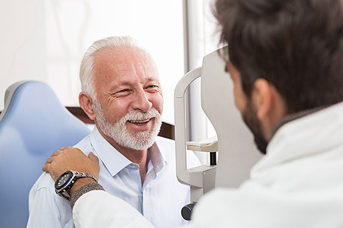 Senior man at eye exam